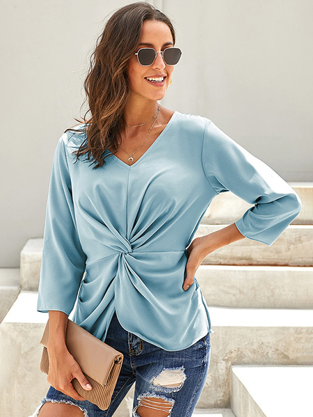 Yoins Blue Twisted V-neck Stretch Waistband Blouse