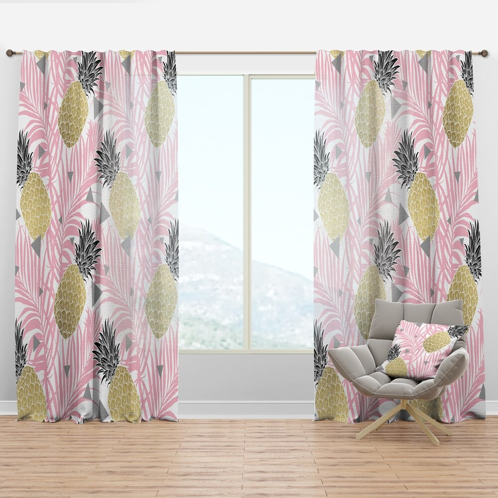 Designart 'Golden Pineapple Pink Leaves' Mid-Century Modern Curtain Panel (50 in. wide x 108 in. high - 1 Panel)