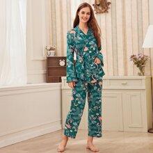 Schlafanzug Set mit Flamingo & Blatt Muster