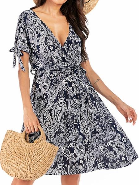 Yoins Navy Belted Random Floral Print Deep V Neck Short Sleeves Dress
