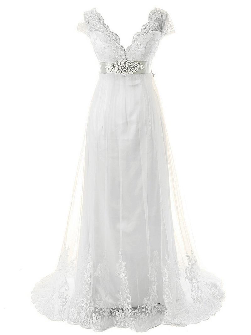 Ericdress Beading Appliques Cap Sleeves Beach Wedding Dress