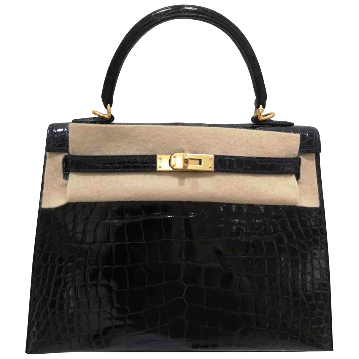 Hermes Kelly 25 Handtasche in  Blau Krokodil