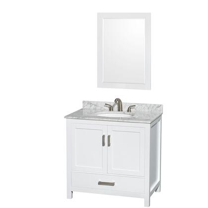 WCS141436SWHCMUNOM24 36 in. Single Bathroom Vanity in White  White Carrera Marble Countertop  Undermount Oval Sink  and 24 in.