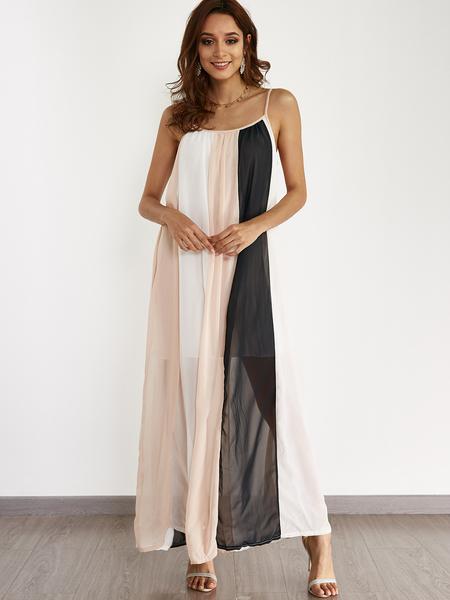 Yoins Vacation Style Stripe Pattern Maxi Dress