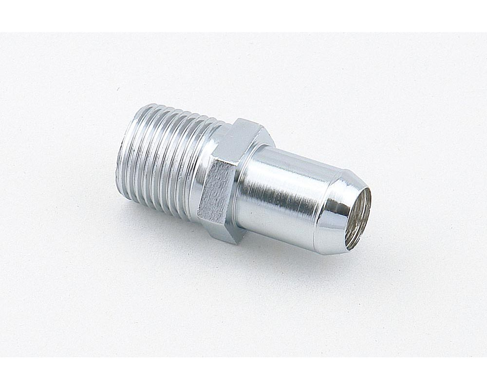 Mr. Gasket Heater Hose Fitting - Straight - 1/2 Inch NPT to 5/8 Inch Barb - Chrome