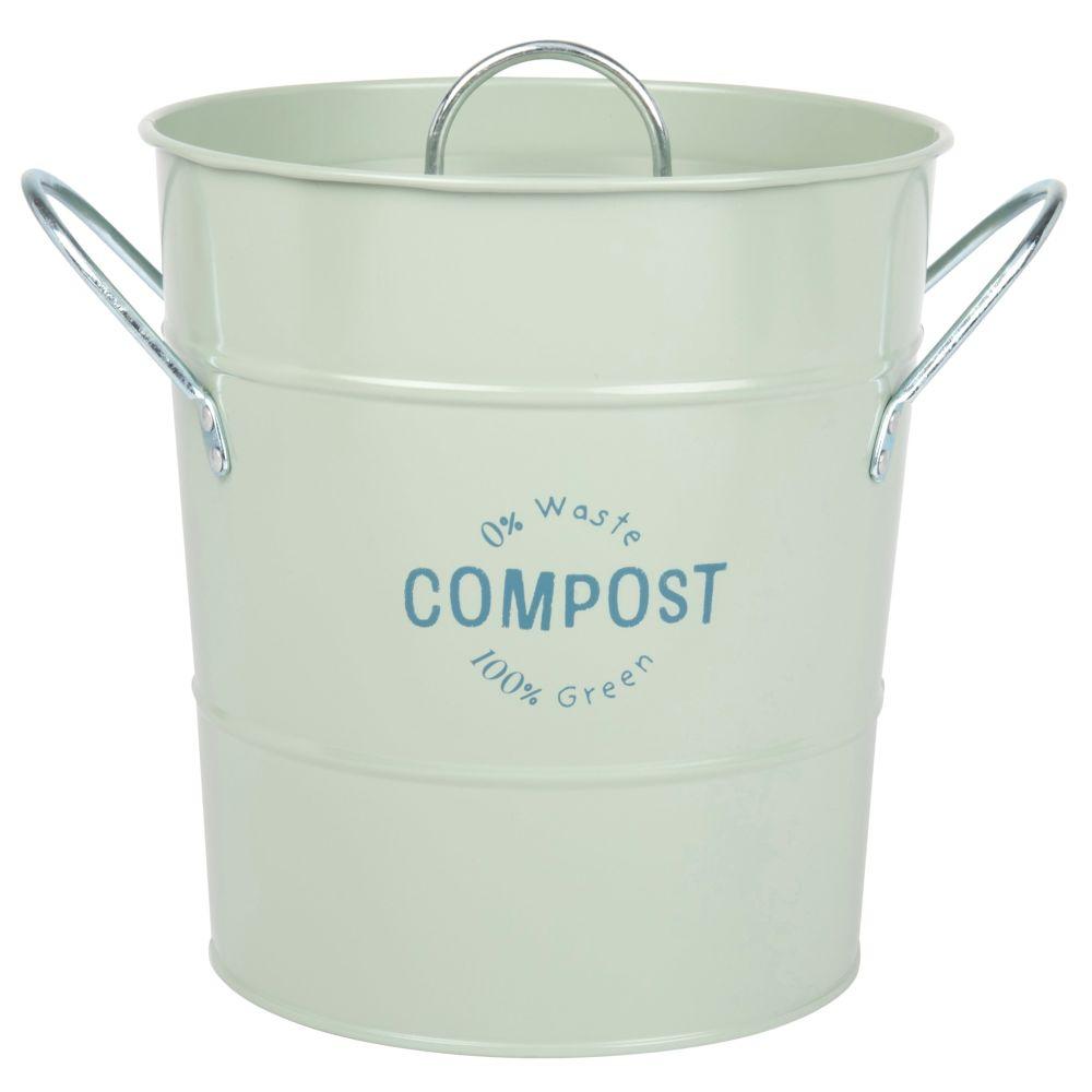 Kompostbehaelter aus Metall, gruen