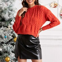 Cable Knit Crew Neck Crop Sweater