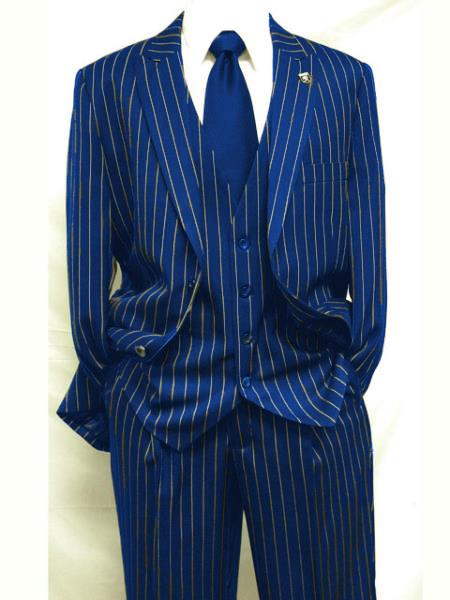 Mens Royal Blue ~ White Gangster Bold PinStripe Suit Pleated pant