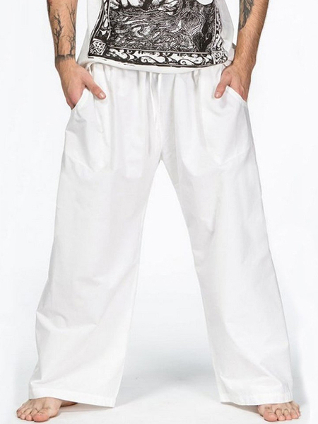 Yoins INCERUN Men Vintage Linen Beach Pants Casual Loose Holiday Wide Leg Pants
