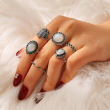 6pcs Gemstone Ring
