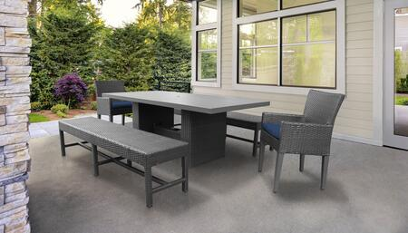 Belle Collection BELLE-DTREC-KIT-2DC2DB-C-NAVY Patio Dining Set With 1 Table  2 Arm Chairs  2 Benches - Wheat and Navy