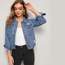 Jeans Jacke mit Absteppen, Zerriss und doppelten Taschen