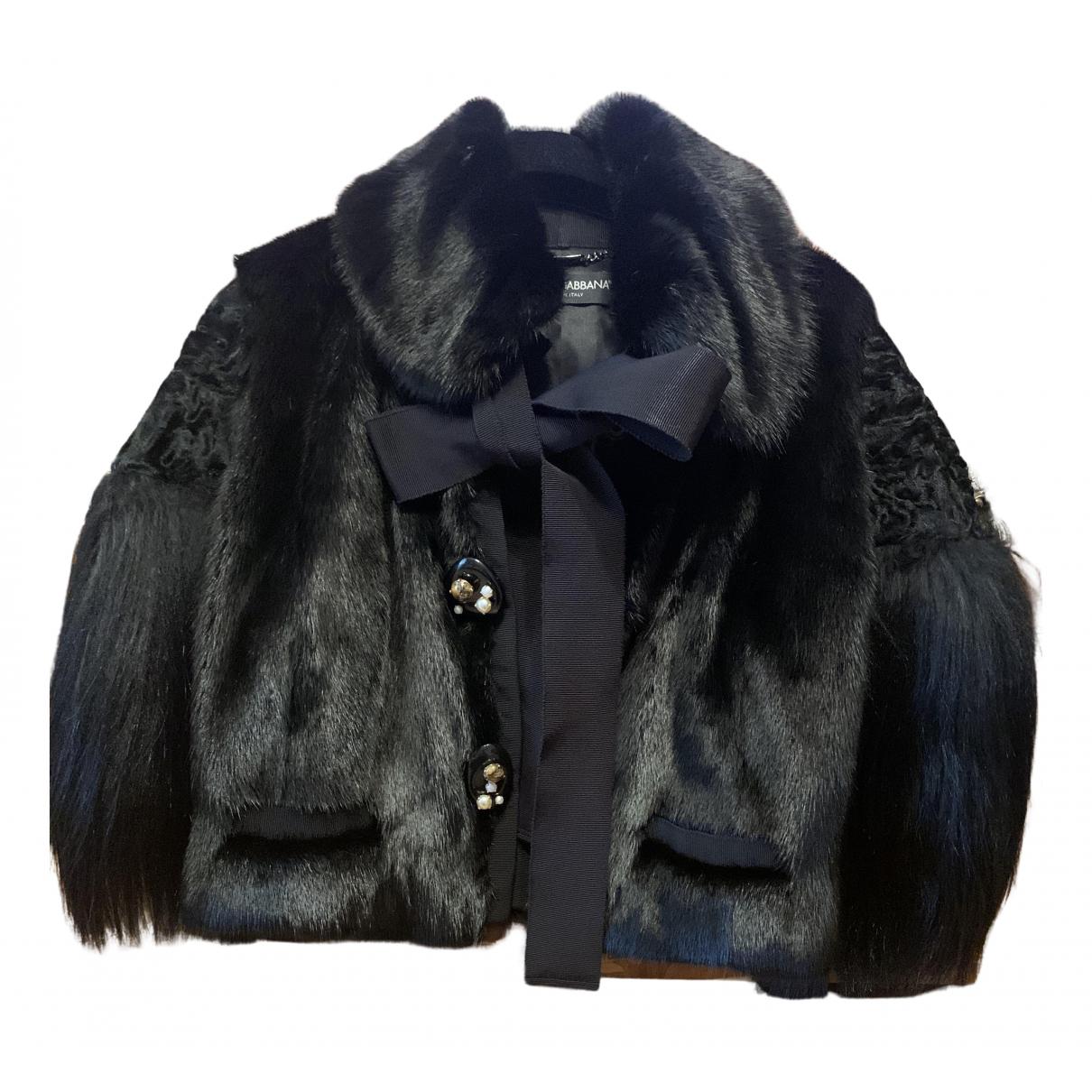 Dolce & Gabbana - Manteau   pour femme en vison - noir