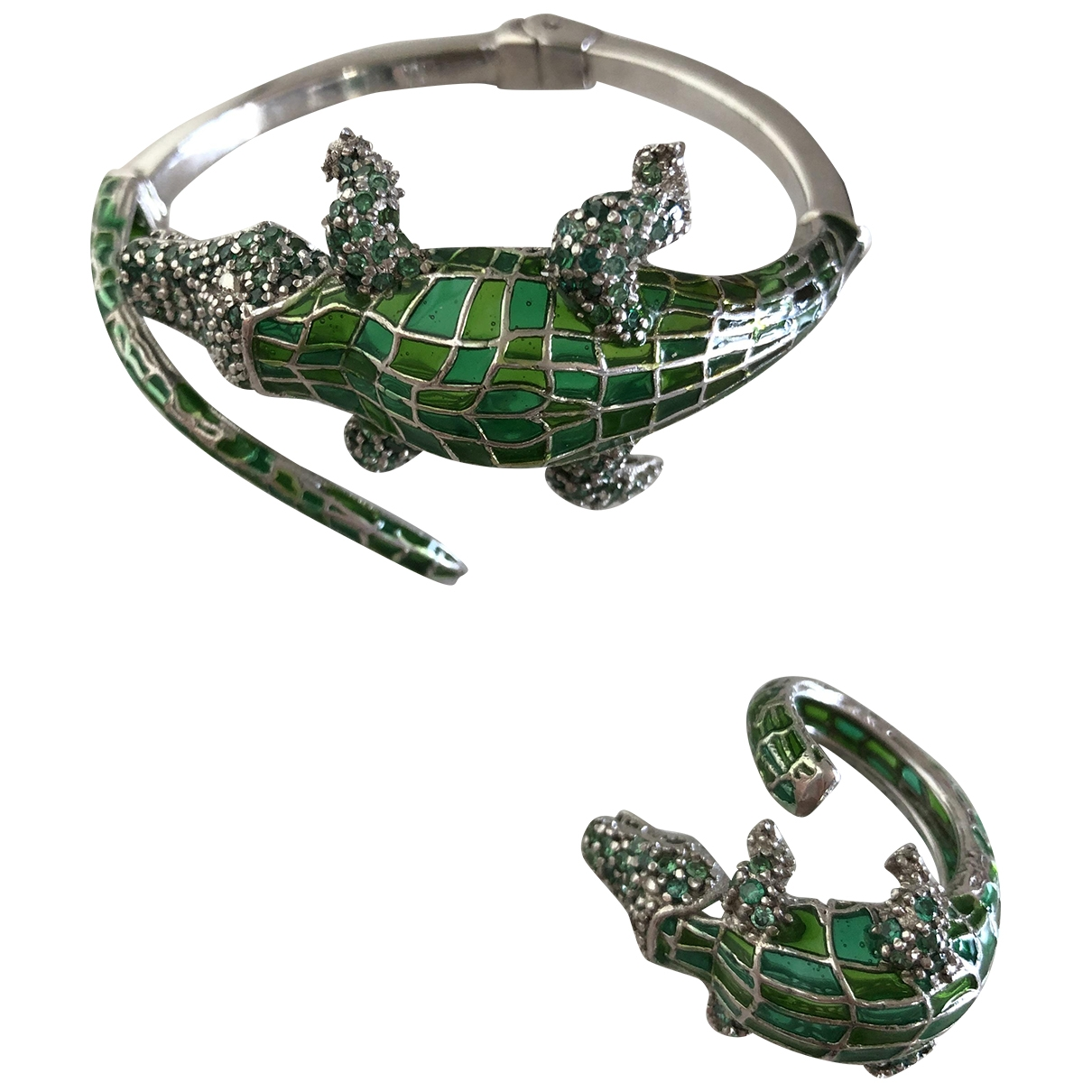 Non Signé / Unsigned Motifs Animaliers Green Silver Jewellery set for Women \N