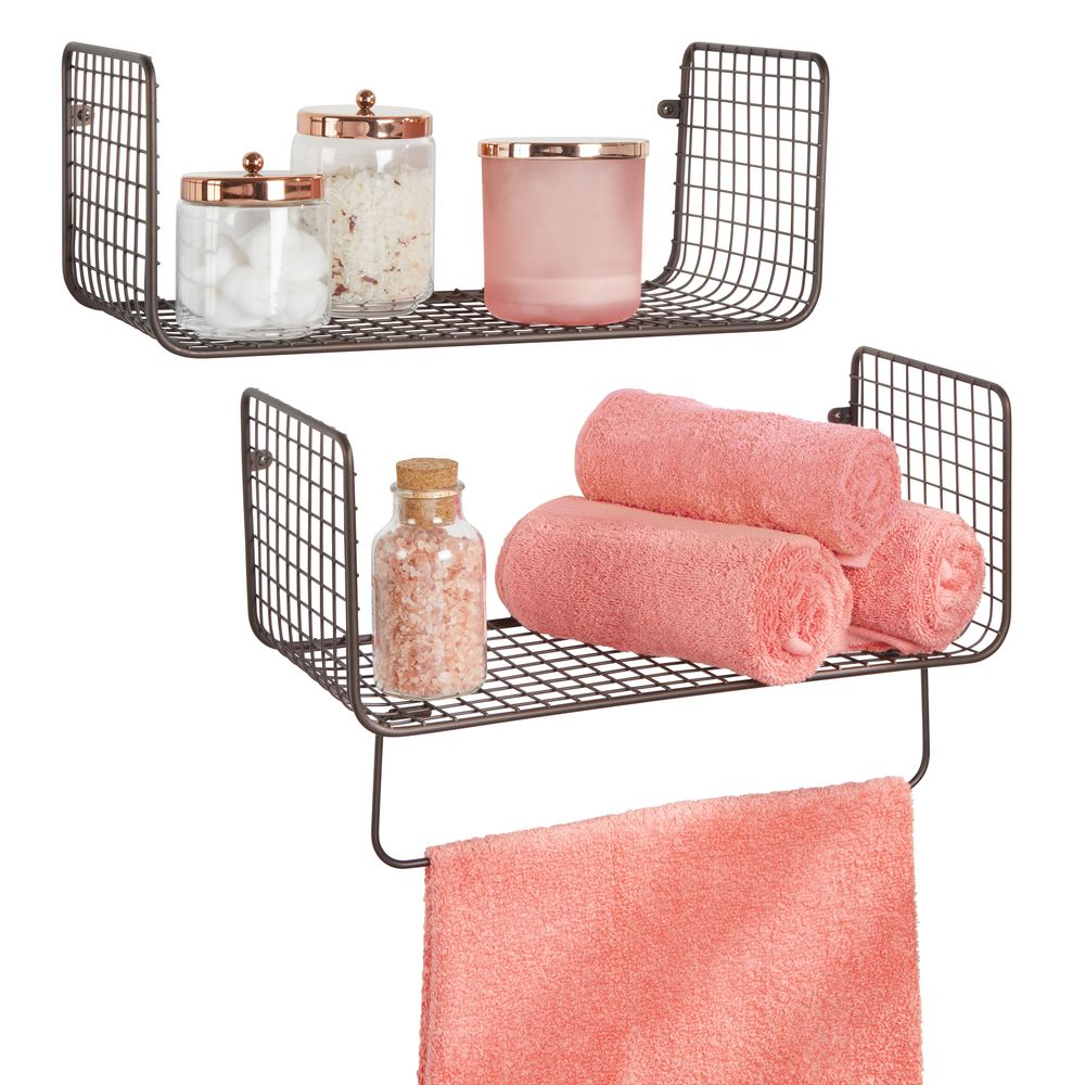 Wire Metal Wall Mount Bathroom Storage Shelf with Towel Bar in Bronze, Set of 2, by mDesign