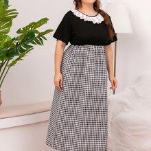 Gespleisstes Kleid mit Karo Muster