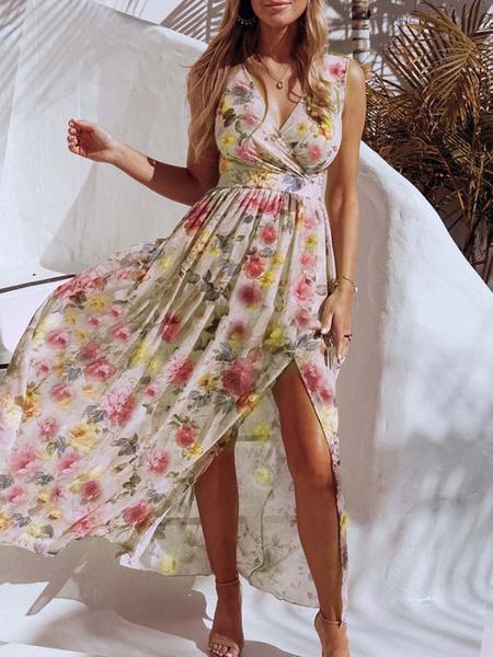 Milanoo Vestidos largos amarillos Vestido sin mangas con cuello en V y estampado floral sin mangas para mujer