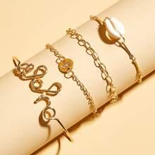4 Stuecke Buchstaben & Schale Decor Armband