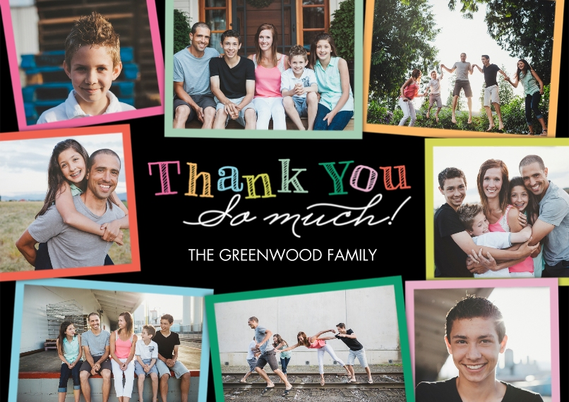 Thank You Cards 5x7 Cards, Premium Cardstock 120lb, Card & Stationery -Thank You Colorful Frames