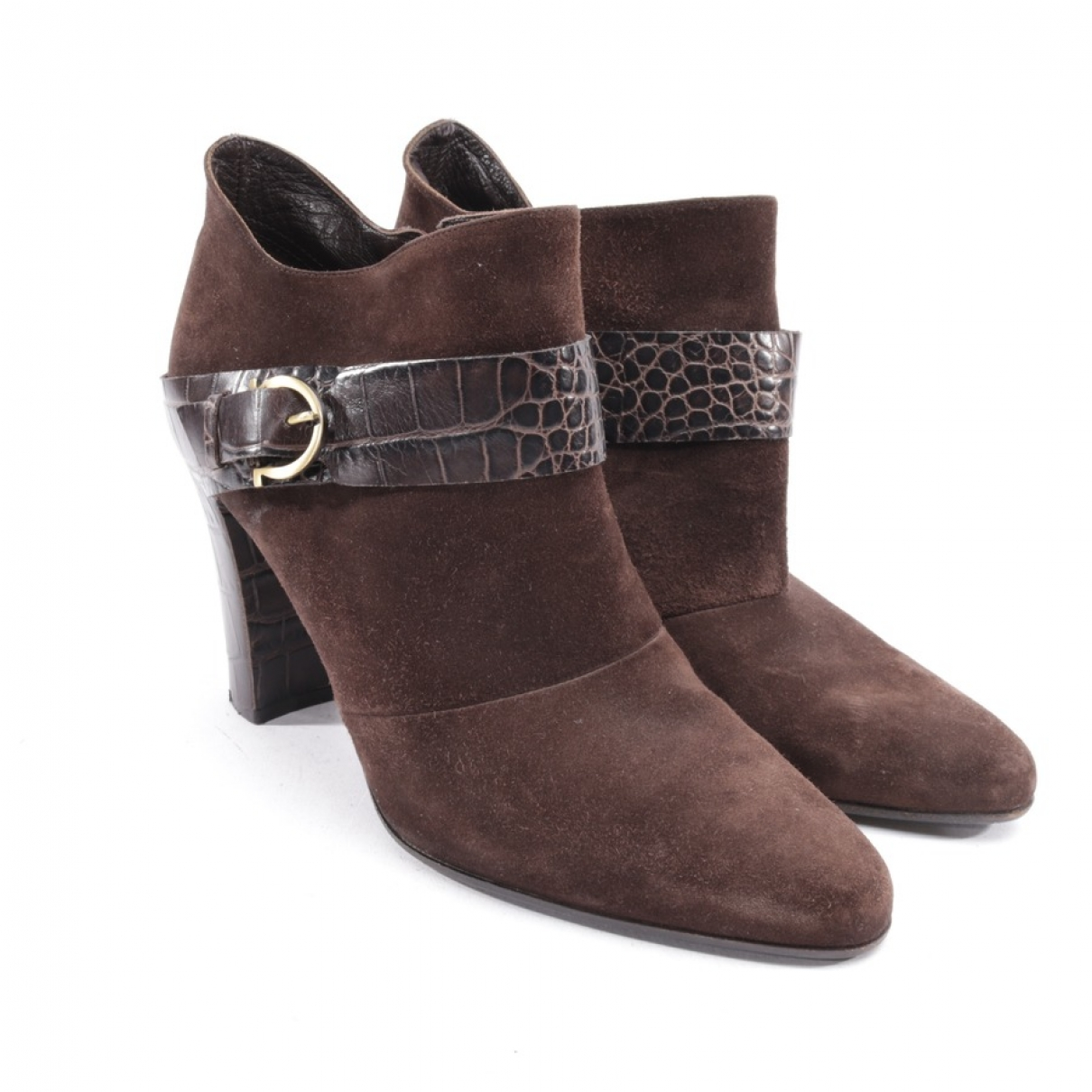 Salvatore Ferragamo \N Brown Suede Ankle boots for Women 41.5 EU