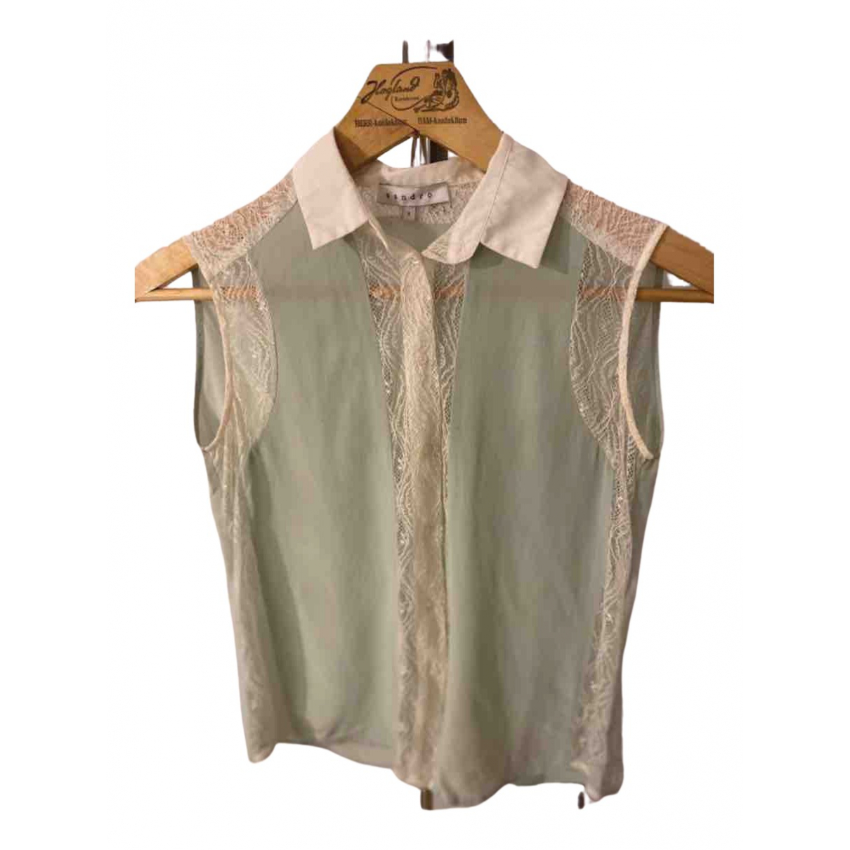 Sandro N Green Silk  top for Women 36 FR