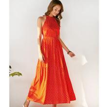 Kleid mit Band hinten, ausgestelltem Saum und Punkten Muster