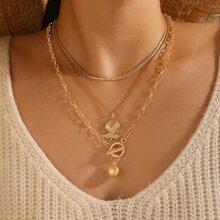 2pcs Rose Charm Necklace