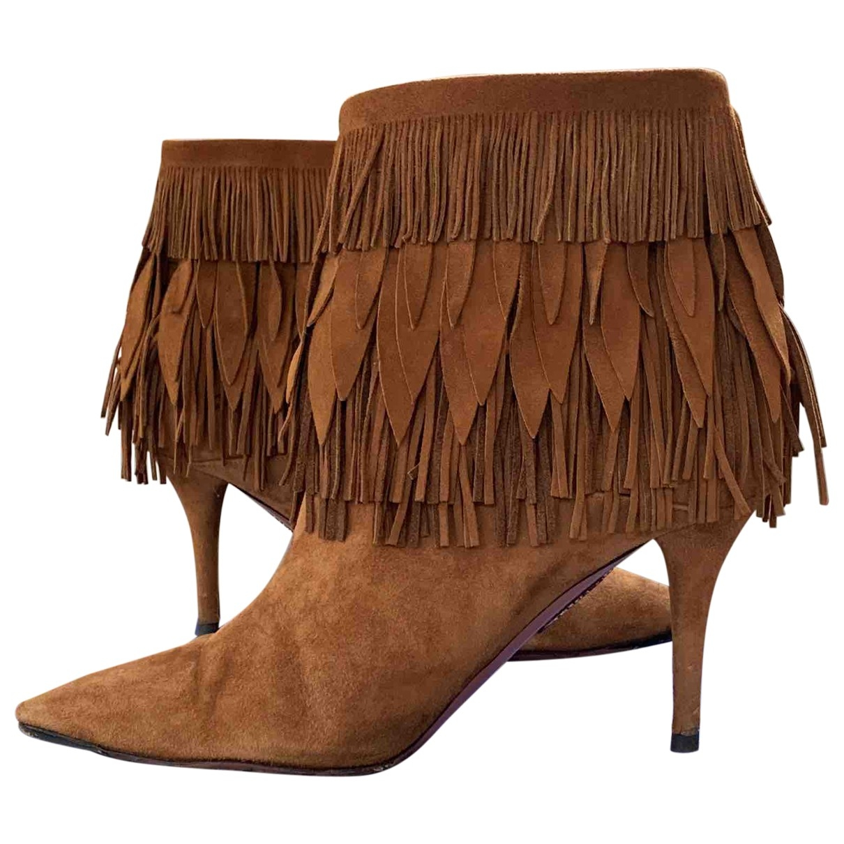 Aquazzura \N Brown Suede Ankle boots for Women 39.5 EU