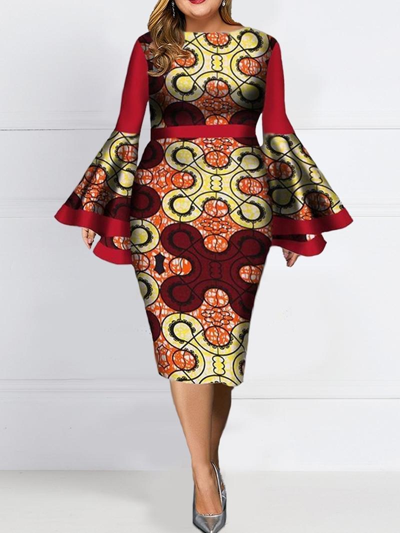 Ericdress Plus Size Print Round Neck Long Sleeve Bodycon Fall Dress