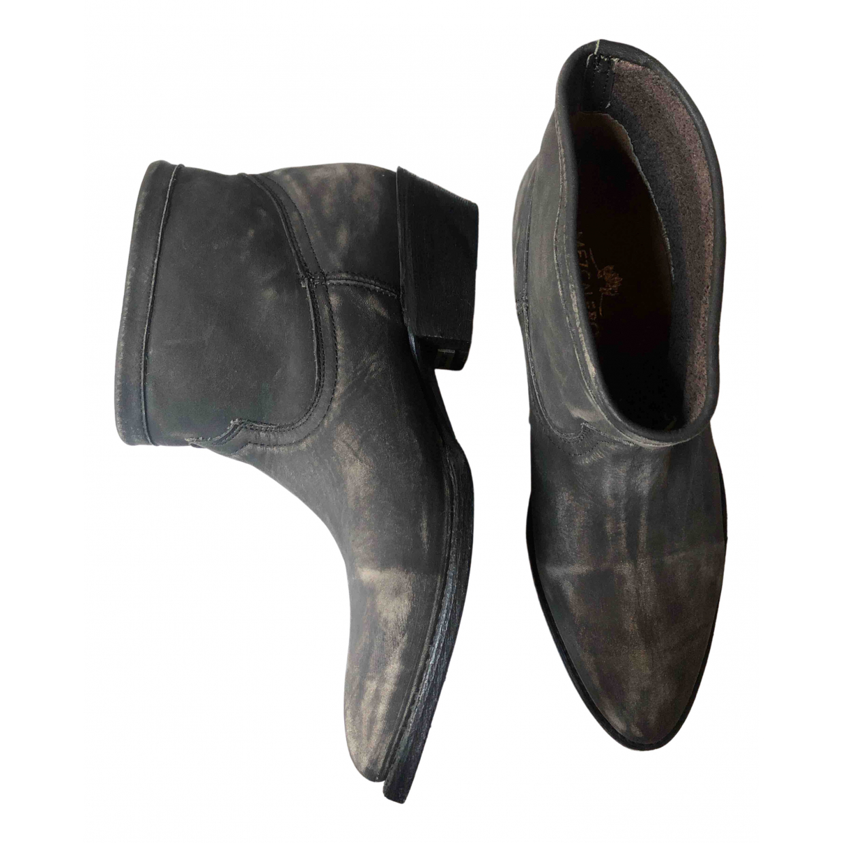 Non Signé / Unsigned \N Grey Leather Ankle boots for Women 37 IT