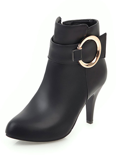 Milanoo White Ankle Boots Women Pointed Toe Buckle Detail High Heel Booties