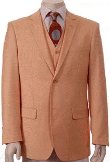 Mens Peach ~ Melon Color 2 Button Vested Suit Regular Fit 3 Piece Suit