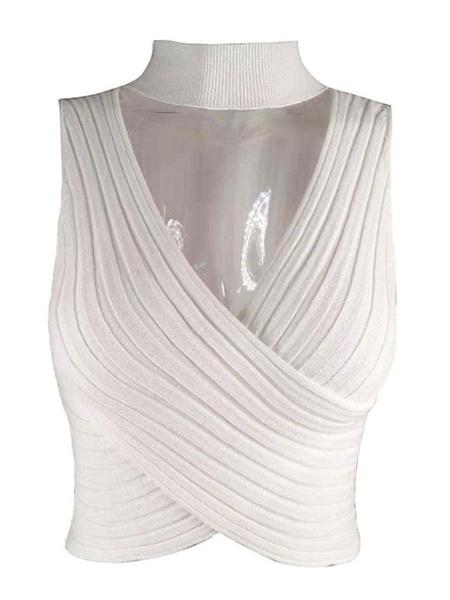 Milanoo Women Crop Top Blue Cotton Cut Out Sleeveless Cropped Tops