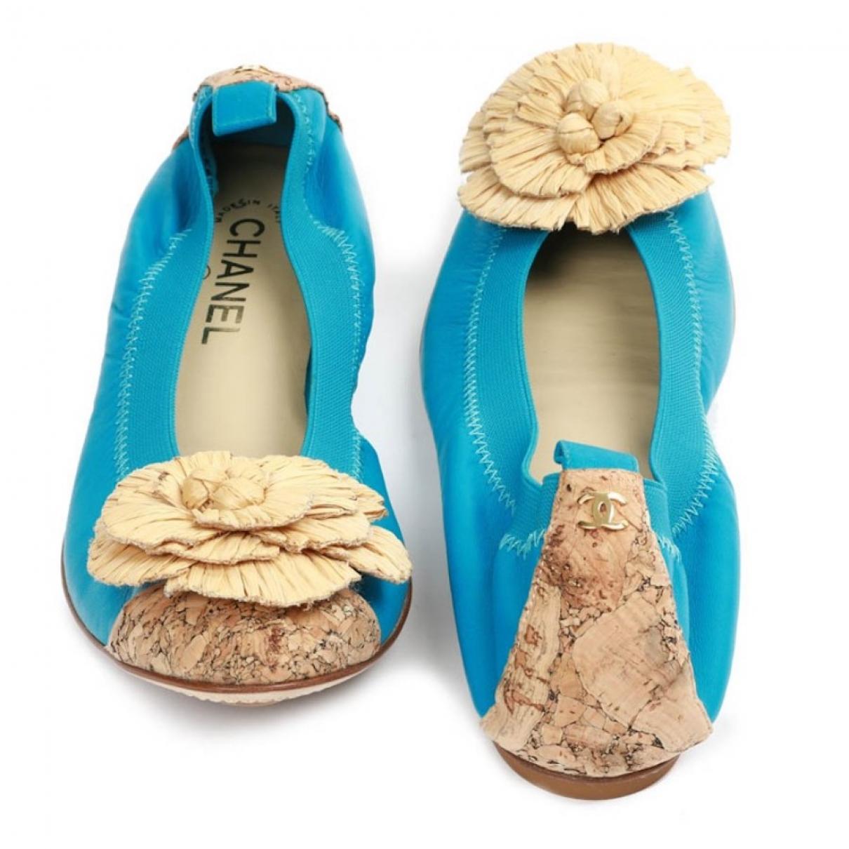 Chanel \N Ballerinas in  Blau Leder