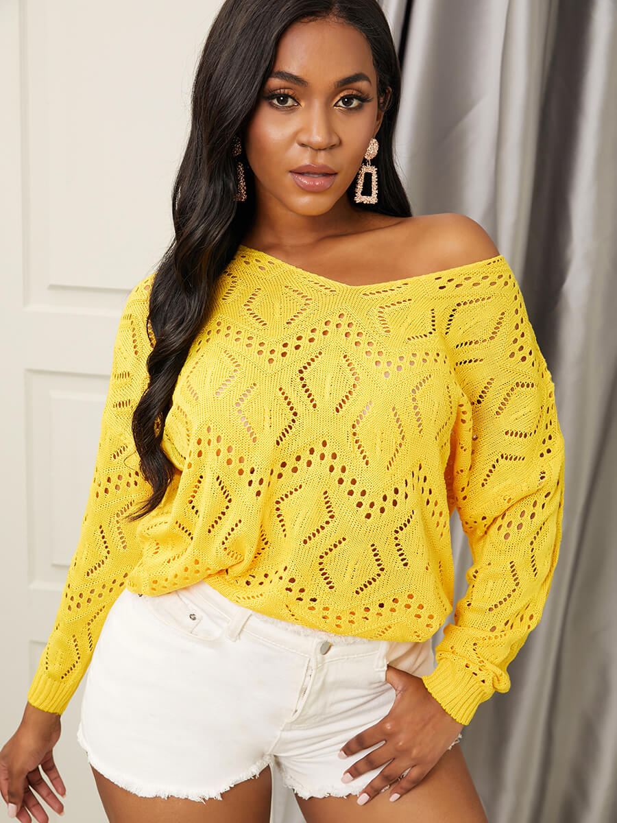 LW Lovely Chic V Neck Pierced Yellow Sweater