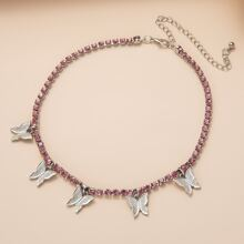 Rhinestone Butterfly Charm Necklace