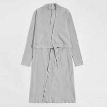 Men Solid Ribbed Belted Robe