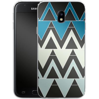 Samsung Galaxy J3 (2017) Silikon Handyhuelle - Blue Triangles von caseable Designs