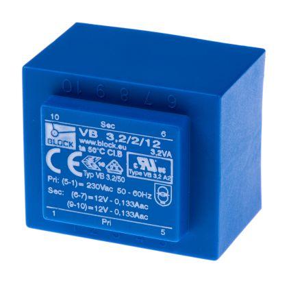 Block 12V ac 2 Output Through Hole PCB Transformer, 3.2VA