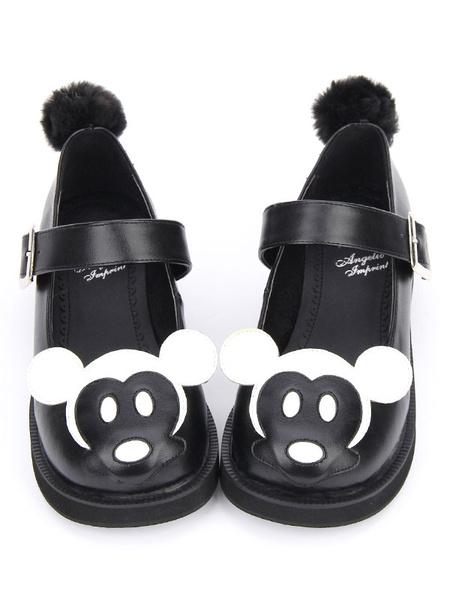 Milanoo Sweet Lolita Shoes Black Round Toe Mickey Pattern Low Top Lolita Shoes