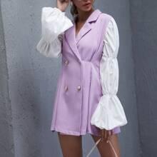 Vestido blazer con boton doble de manga farol en contraste