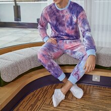 Men Drop Sleeve Tie Dye Pullover & Sweatpants Set