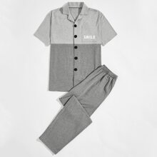 Men Letter Graphic Colorblock Pajama Set