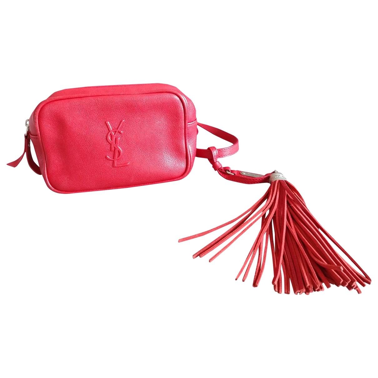 Saint Laurent - Pochette   pour femme en cuir - rouge