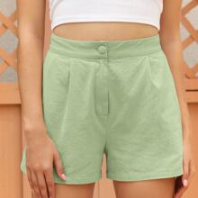 Fold Pleated Solid Shorts