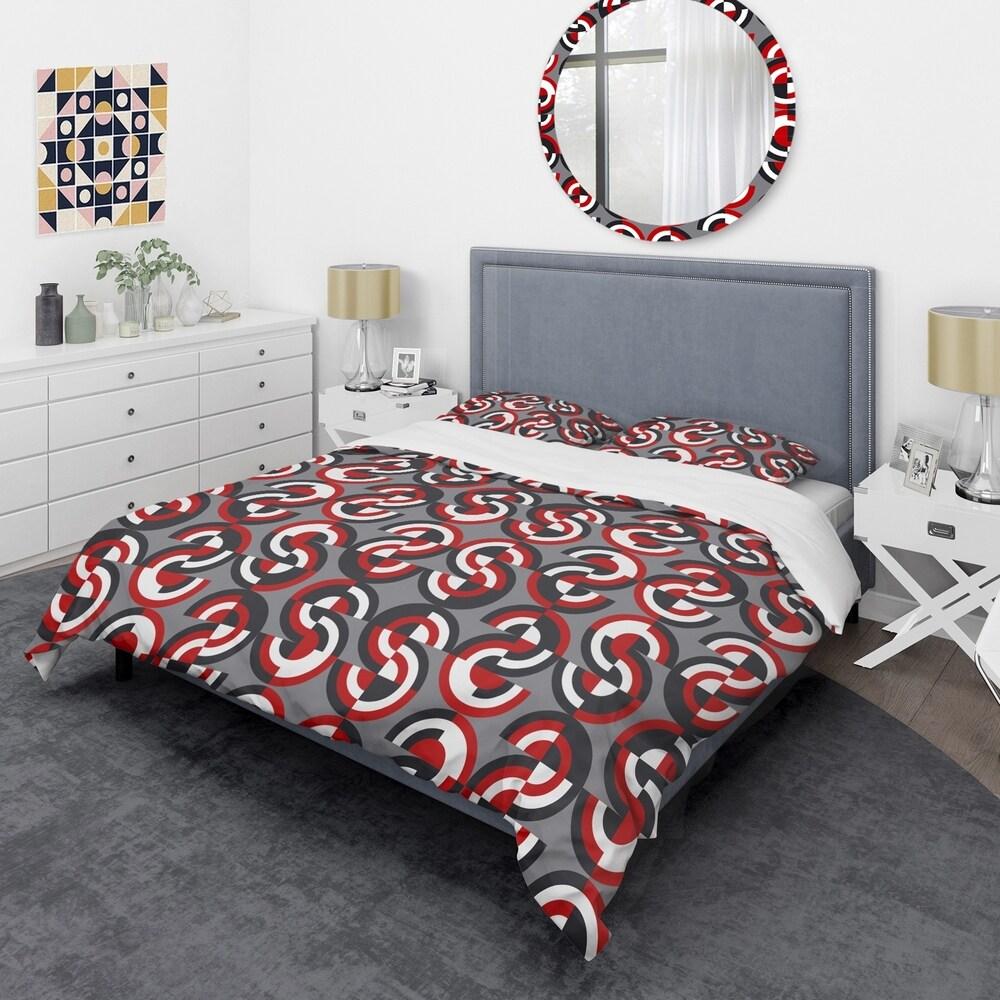 Designart 'Retro Circular Pattern Geometrical' Mid-Century Duvet Cover Set (Full/Queen Cover +2 Shams (comforter not included))