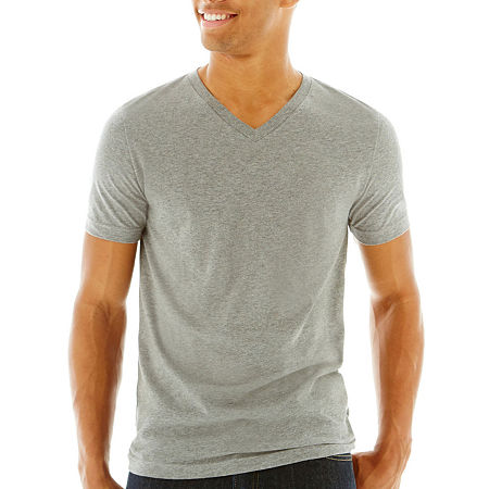 Arizona Mens V Neck Short Sleeve T-Shirt, X-small , Gray