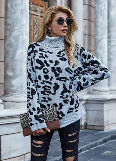 Trendy Long Sleeve Turtleneck Leopard Grey Sweater - M
