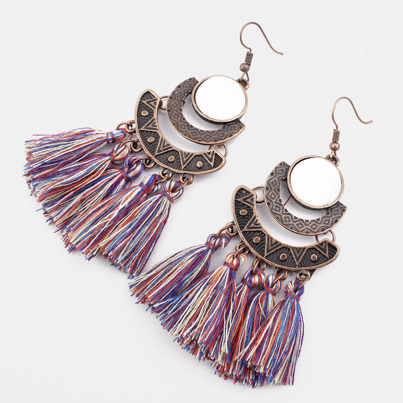 Bohemian Geometric Irregular Sector Tassel Earrings Ethnic Tassel Pendant Earrings