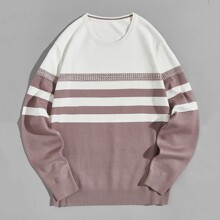 Jersey de hombros caidos de color combinado de rayas
